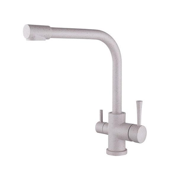 Смеситель для кухни с краном питьевой воды, латунный, однорычажный  KAISER MERCUR 26044-8 Песочный