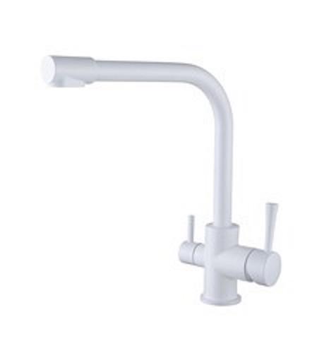 Смеситель для кухни с краном питьевой воды, латунный, однорычажный  KAISER MERCUR 26044-10 Белый