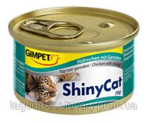 Консервированный корм для кошек с курицей и креветкой Шайни Кэт,70г