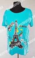 """Яркая летняя женская футболка """"Paris"""" хорошего качества"""