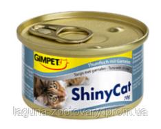 Консервированный корм для кошек с тунцом и креветками Шайни Кэт,70г
