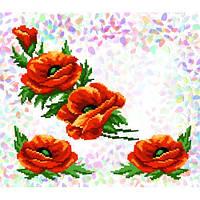 """Флизелин водорастворимый пришивной с рисунком """"Маки"""" Confetti 214"""