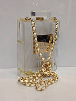 Женская сумка клатч Chanel № 5 308 клубный вечерний прозрачный