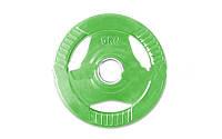 Фитнес памп (блины обрезиненные с хватом для штанги BP3031) 30мм 5кг PL26-5 (отв. d-30мм,зеленые)