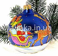 """Стеклянный шар на елку  """"Дед Мороз на санях"""""""