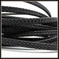 """Шнур """"Змеиная кожа"""", 6*3 мм, чёрный (20 см)"""