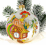 "Стеклянный шар на елку  ""Петух на часах"""