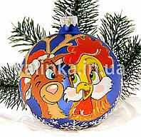 """Стеклянный шар на елку  """"Петушок и Олень"""""""