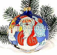 """Стеклянный шар на елку  """"Петух и Дед Мороз с подарками"""""""