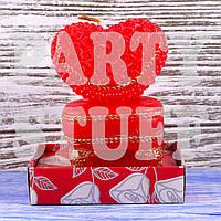 Красная свеча Сердце на тумбе, 8х6 см, фото 1