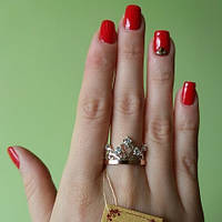 Серебряное кольцо  Корона  925 пробы с цирконами с вставками золота 375 пробы