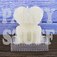 Свеча свадебная Сердце белое на тумбе 8х6 см, фото 1