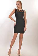 Облегающее маленькое черное платье, костюмная ткань, кружево, 42-52 размеры