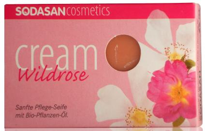 Мыло-крем SODASAN oрганическое Wild roses для лица с маслами Ши и Диких роз 100 г