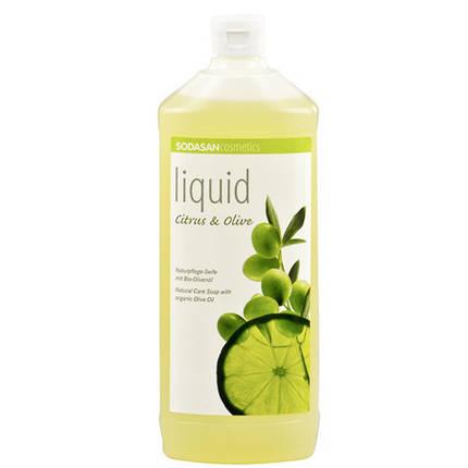 Мыло SODASAN органическое Citrus-Olive жидкое, бактерицидное с цитрусовым и оливковым маслами 1 л, фото 2