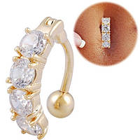 Для пирсинга пупка с прозрачными кристаллами. Медицинская сталь, золотое анодирование.