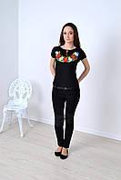 Футболка вишиванка Квіткове намисто (чорна), фото 1