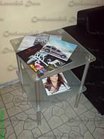 Стеклянный журнальный столик из стекла сатин