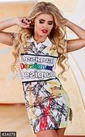 Яркое летнее женское платье с абстрактным принтом и разрезами по бокам рукав короткий лакоста Турция