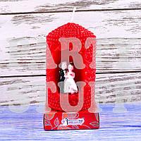 Свеча свадебная Красная 8 см х 5 см , фото 1