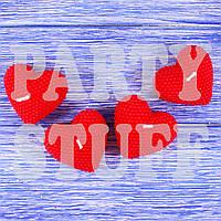 Фигурные свечи сердца Красные, 5х5 см (2 шт), фото 1