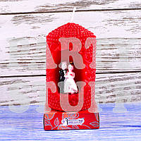 Свеча фигурная свадебная Красная 4 см х 6 см