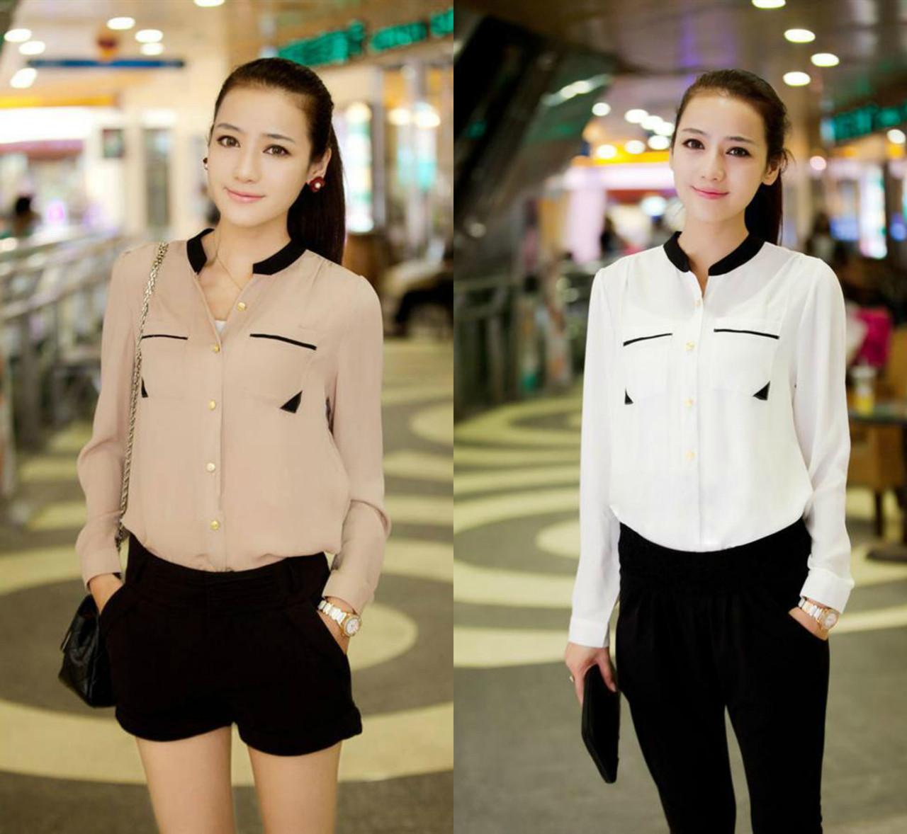 3862a3a75a96635 Рубашка (блузка) женская белая и бежевая, цена 250 грн., купить Киев ...