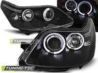 Передние фары тюнинг Citroen C4 2004-2010 г.в. ангельские глазки, линза, черные
