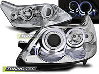 Передние фары тюнинг Citroen C4 2004-2010 г.в. ангельские глазки, линза, хром