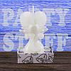 Свеча свадебная Сердце с голубями белая, 10 см