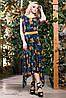Стильное яркое летнее платье длинное асимметричной длины цветочный принт 42-52 размеры
