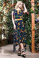Стильное яркое летнее платье длинное асимметричной длины цветочный принт 42-52 размеры, фото 1
