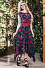 Стильне, яскраве літнє плаття довге асиметричної довжини квітковий принт 42-52 розміри
