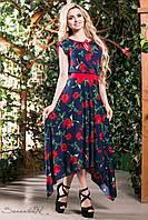 Стильне, яскраве літнє плаття довге асиметричної довжини квітковий принт 42-52 розміри, фото 1