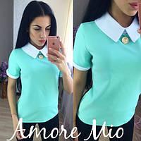Блузка стильная модная с брошью разные цвета SRL90