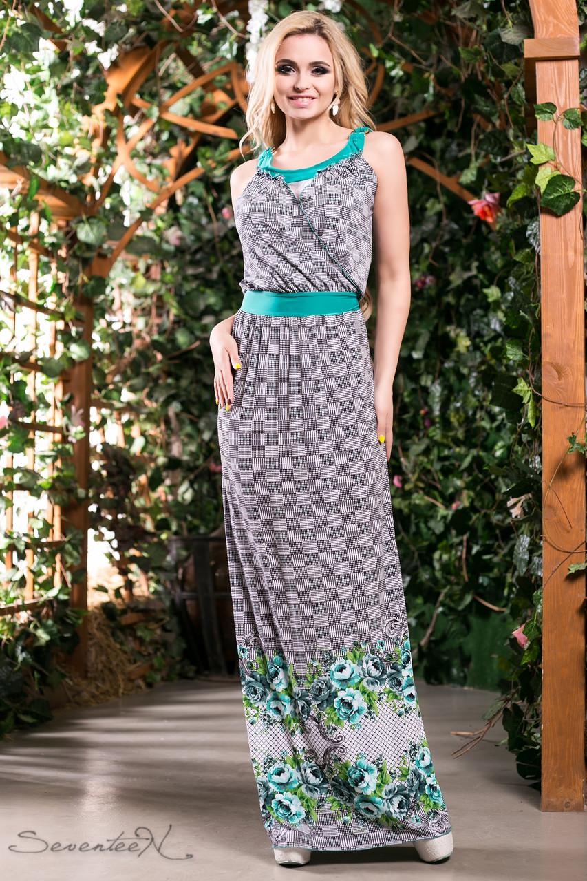 0b8c1cee3e5 Романтическое и легкое летнее платье сарафан в пол с цветами 42-52 размеры  - 💎