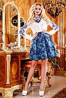 Яркая, нежная юбка со стильным орнаментом, жаккард, клеш, 42-46 размер