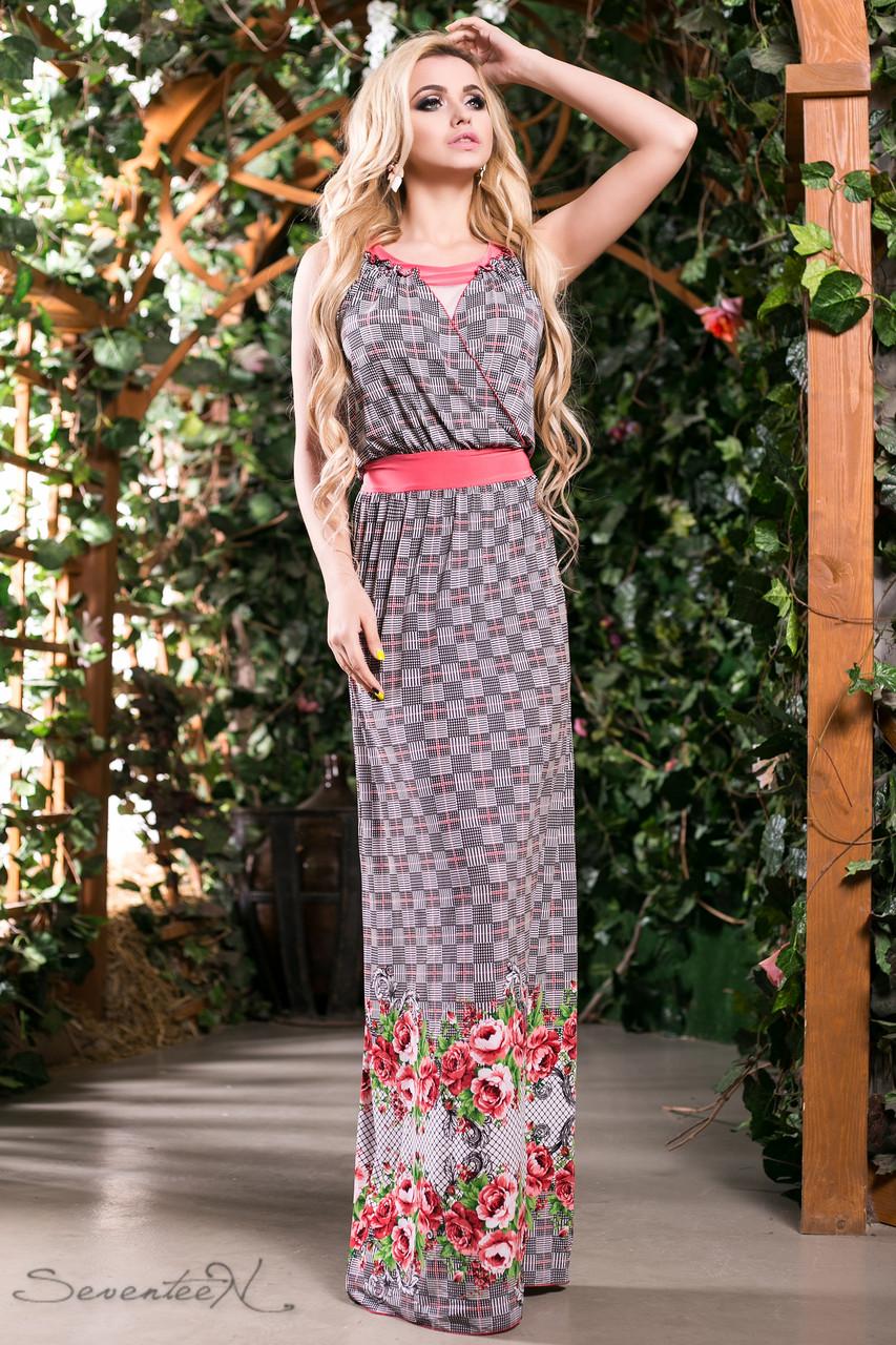 0fbb8375595 Романтическое и легкое летнее платье сарафан в пол с цветами 42-52 размеры
