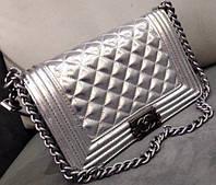 Сумка Chanel бой серебрянная, сумка шанель бой женский клатч