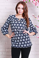 Стильная женская блуза с кругами темно-синяя