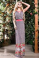Романтическое и легкое летнее платье сарафан в пол с цветами 42-52 размеры 50