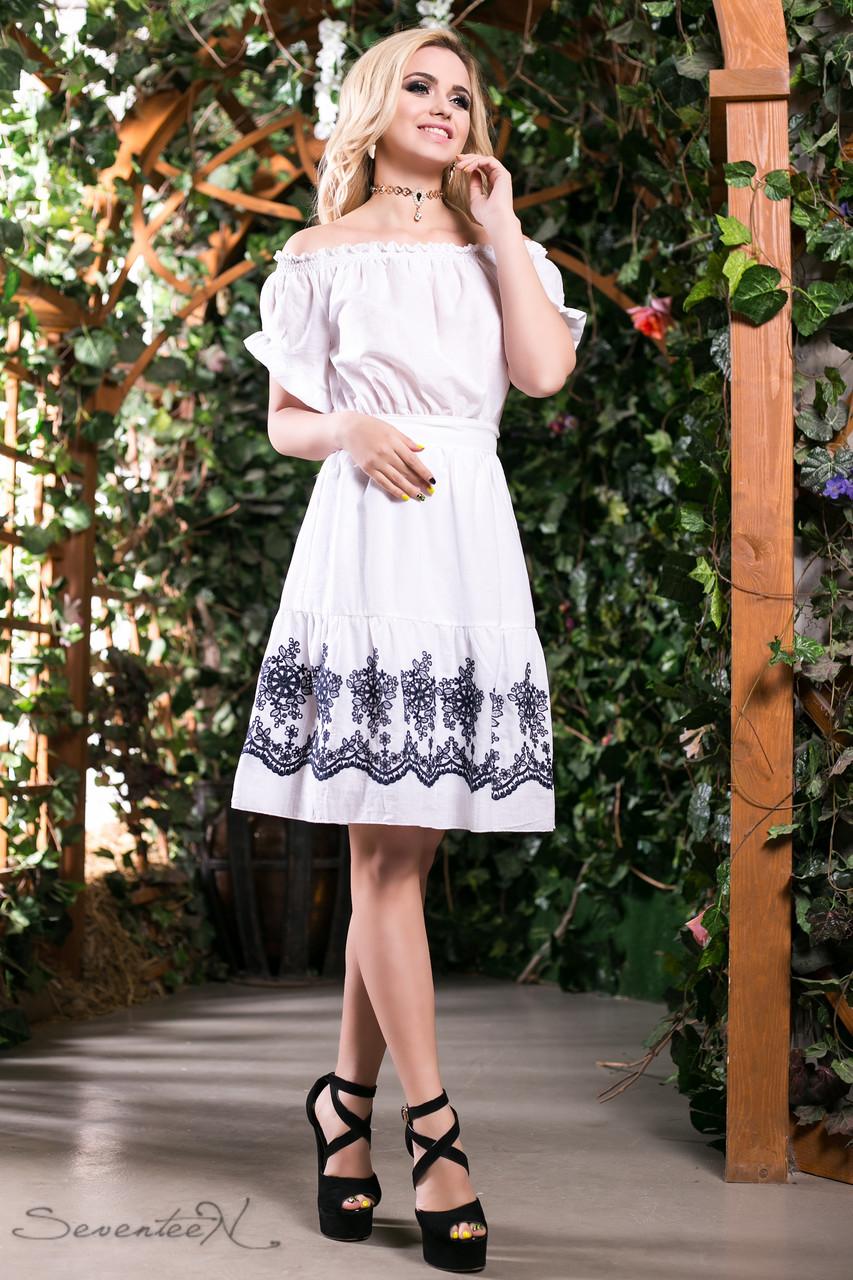 d7a2324d15d Летнее свободное платье сарафан из батиста с вышивкой с открытыми плечами  42-48 размеры -