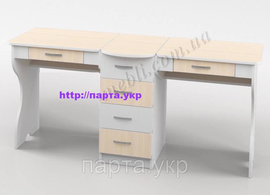 Школьный стол для двоих детей Белый