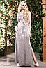 Длинное летнее платье с разрезами из итальянского трикотажа 42-52 размеры