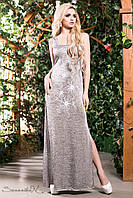Длинное летнее платье с разрезами из итальянского трикотажа 42-52 размеры, фото 1