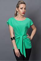 Бирюзовая летняя блуза модного кроя из легкой ткани