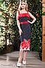Летнее платье миди на бретелях приталенное цветочный принт 44-52 размеры