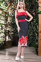 Літнє плаття міді на бретелях приталене квітковий принт 44-52 розміри, фото 1