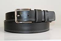 Ремень кожаный 40 мм черный прошитый двойной белой ниткой пряжка матовая рябристая