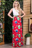 Легкое летнее платье в пол с белым верхом из итальянской ткани креп - софта 42-52 размеры
